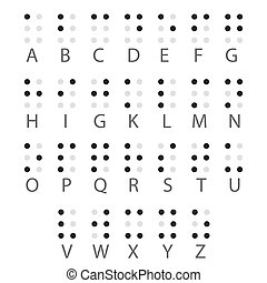 braille, alfabeto, inglês, vetorial, letters.