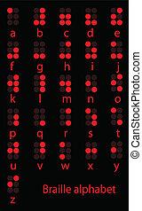 braille, alfabeto, jogo, vermelho