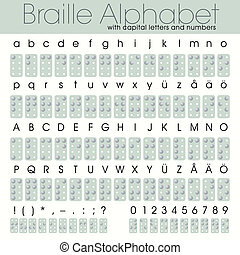 braille, alfabeto, números