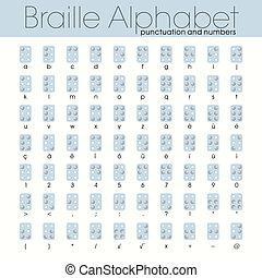 braille, alfabeto, pontos, sistema, 6