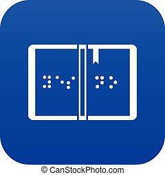 braille, azul, ícone, digital