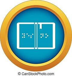 braille, azul, vetorial, isolado, ícone
