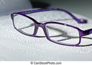 braille, braille., livre, lunettes