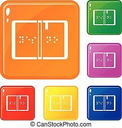 braille, cor, jogo, vetorial, ícones