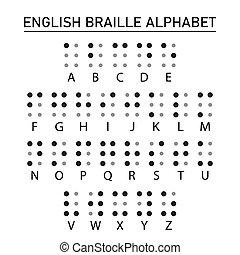 braille, inglês, alfabeto, letters.