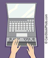 braille, laptop, ilustração, mãos