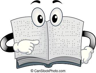 braille, livro, ilustração, mascote