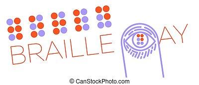 braille, mundo, banne, dia