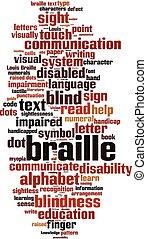 braille, palavra, nuvem
