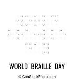 braille, papel, simples, elemento, day., estilo, 3d, branca,...