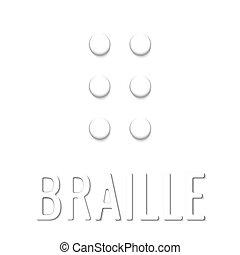 braille, papel, simples, elemento, estilo, 3d, branca,...