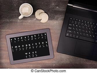 braille, tablette, concept, impossibilité