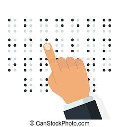 braille, vetorial, alphabet., inglês