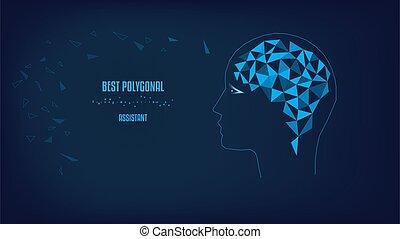 brain., 概念, head., バックグラウンド。, 暗い, ベクトル, シルエット, polygonal, 青, illustration.