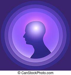 brain., 頭, シルエット, 白熱, 人間