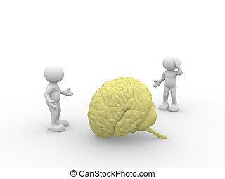 Brain - 3d people - man, person  and yellow brain.