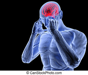 brain - a man with a headache under x-ray.