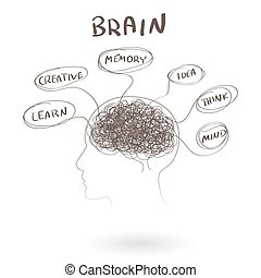 Brain, a thinking human concept. Vector illustration