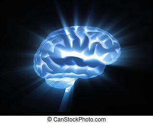 Brain - Active blue brain light streaks
