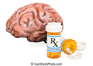 Brain and drugs concept. Human brain with medical bottles...