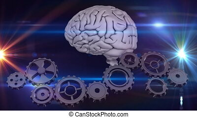 Brain and gears - Digitally generated animation of brain ...