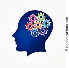 Brain and gears logo