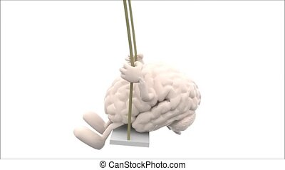 brain and heart with amrs and legs on a swing