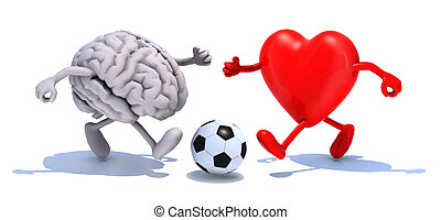brain and heart with his arms and legs running to a soccer...