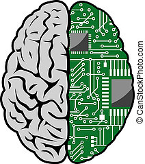 Brain and motherboard - Brain with motherboard as a computer...