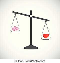 brain and red hearth in balance