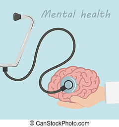 Brain and stethoscope, medical concept