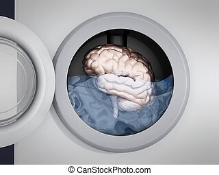 Brain being washed in washing machine. 3D illustration
