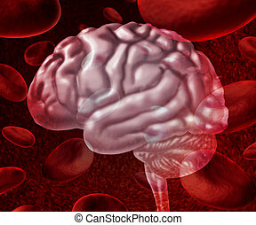 Brain Blood - Brain blood circulation as cells flowing...