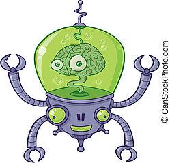 Brain Bot Robot with Brain - Vector cartoon illustration of ...