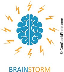 Brain, brainstorming, idea, creativity logo and icon. Vector