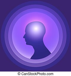 brain., cabeça, silueta, glowing, human