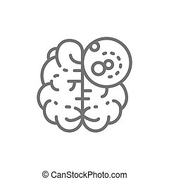 Brain cancer, malignant tumor, oncology line icon.