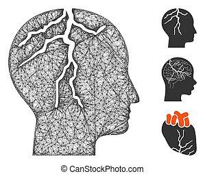 Brain Cancer Polygonal Web Vector Mesh Illustration