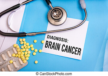 Brain cancer words written on medical blue folder