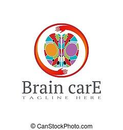 Brain care icon template, creative vector logo design, illustration element.