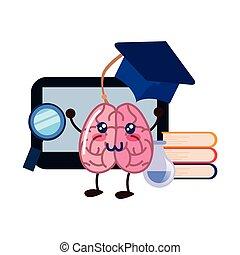 brain cartoon tablet education book science hat vector...