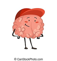 Brain character emotion. Brain character standing in a baseball cap. Funny cartoon emoticon. Vector illustration isolated on white background