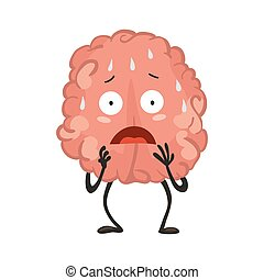 Brain character emotion. Brain character stands scared and ...