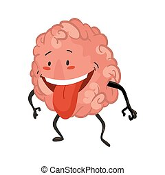 Brain character emotion. Brain character stands with his tongue out. Funny cartoon emoticon. Vector illustration isolated on white background