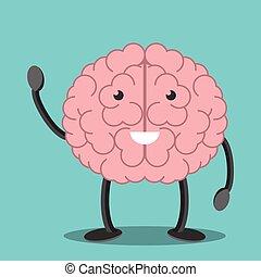 Brain character waving hand.eps