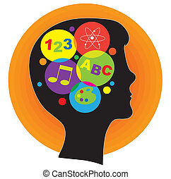 A profile silhouette of a young person, with a head full of ideas represented by colorful icons.