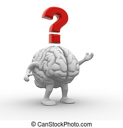 Brain and question mark. 3d render illustration