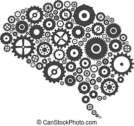 Brain Cogs And Gears - Brain Section Made Of Cogs And Gears