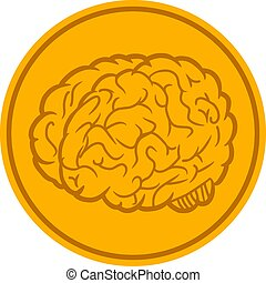 Brain Coin Vector Icon