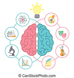Conceptual flat vector illustration of left and right hemispheres of the brain and different icons of the logical and creative activities